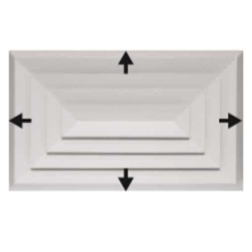 Picture of Bevelled Edge 4-Way Rectangular Diffuser